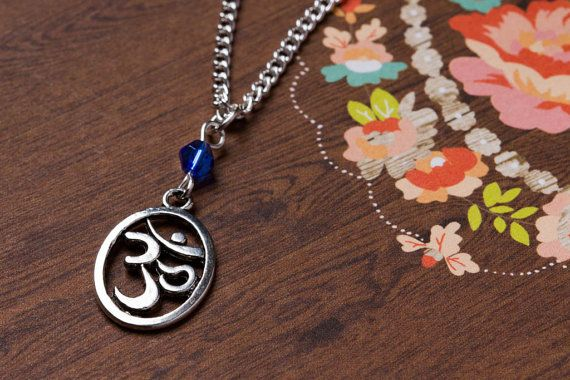 Beaded Om Necklace  Om Necklace  Silver by CharmingThreadwares