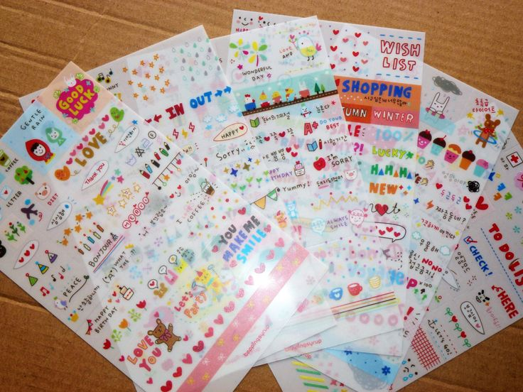 cute Korea Stickers for Diary - 6 Sheet by AzraelWest on Etsy