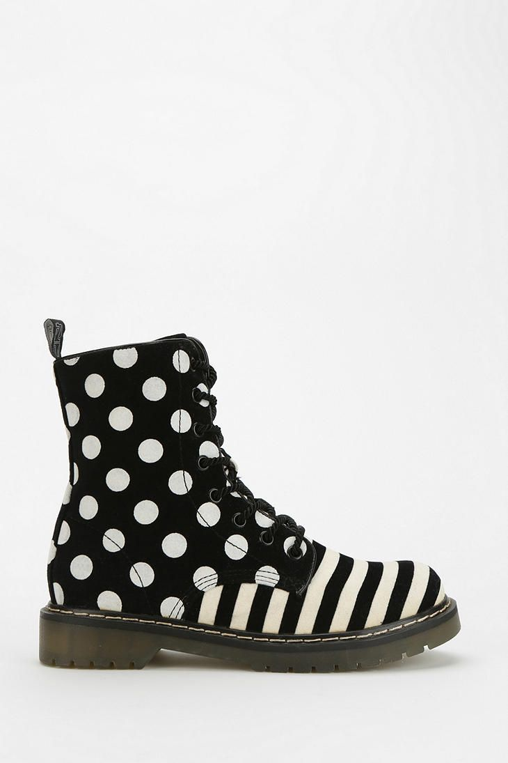 24 Footwear Polka Dot Stripe Lace-Up Boot black and white funky shoes