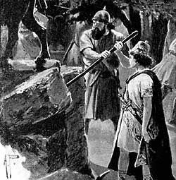 "King Josiah supervises the destruction of the ""golden calf"" at Bethel."