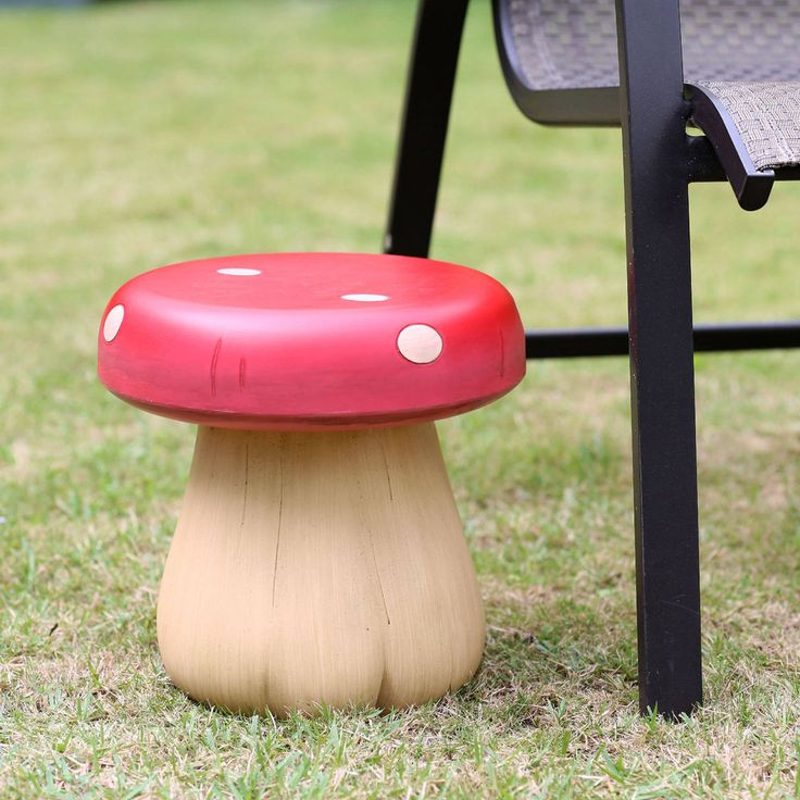 "Garden Decorative Stool 11"" Red Mushroom Patio Decor Outdoor Bachyard Seat Resin #Generic"