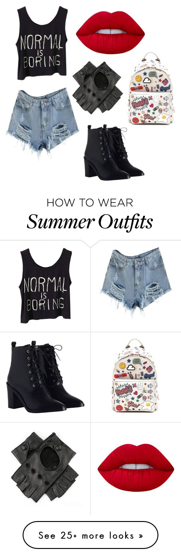"""Outfit for Harley Quinn ❤"" by terypoky on Polyvore featuring Zimmermann, Lime Crime, Black and Anya Hindmarch"