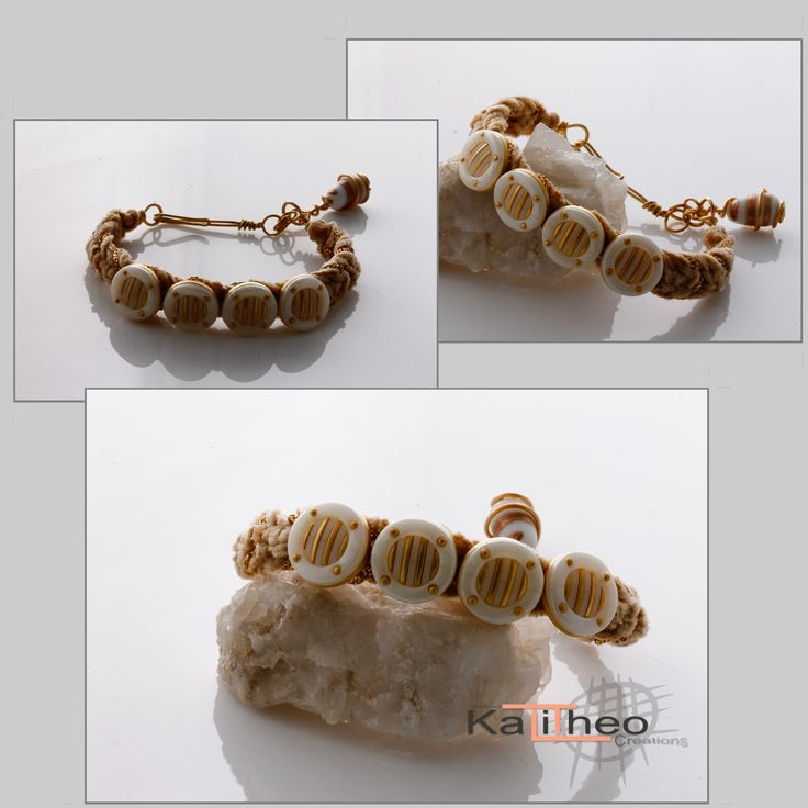 KTC-182 Macrame Hemp Bracelet on wire Beige and Gold cords. Cream and gold buttons x4... Hand-crafted clasp on gold wire and wire wrapped dangle bead. AU $18.00 https://www.facebook.com/KalitheoCreations #macrame #bracelets #fun #handmade