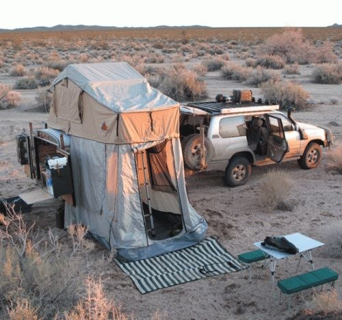 such a cool tent / trailer combo