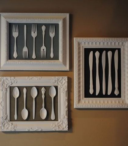 Easy & Creative Decor Ideas - Frames Old Cutlery and White Spray - Click Pic…