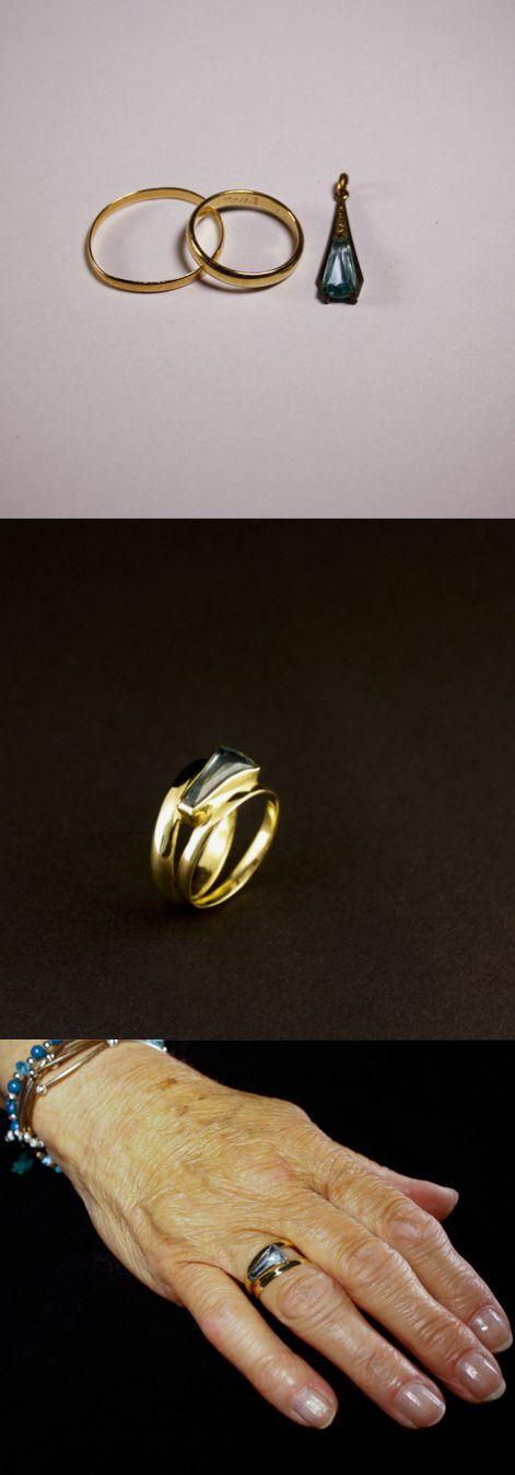 Gouden damesring met Aquamarijn, vervaardigd van 2 trouwringen #goudsmidmetpassie #herinneringen #omdatikjemis #herinneringssieraden #ring #goudsmidingroningen #groningen #goudsmid