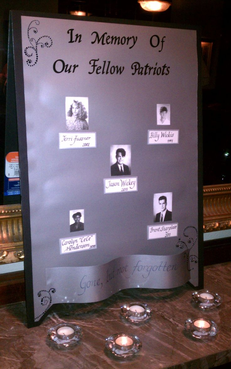 simple display to remember deceased classmates from the Parkway South Class of 1992