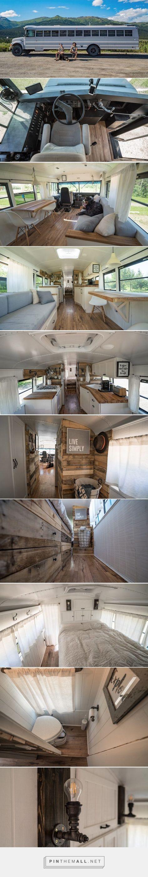Artsy Couple Turned a School Bus into a Loft on Wheels - Tiny House Blog - created via https://pinthemall.net