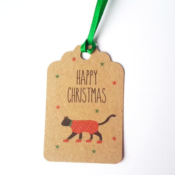 Cat Christmas Gift Tags 5 Pack-Black cat gift tags by JayneyMac