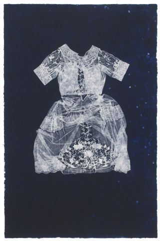 The Great Memory. Valerie Hammond. Photolitho/Relief on handmade paper. #art #dress #printmaking