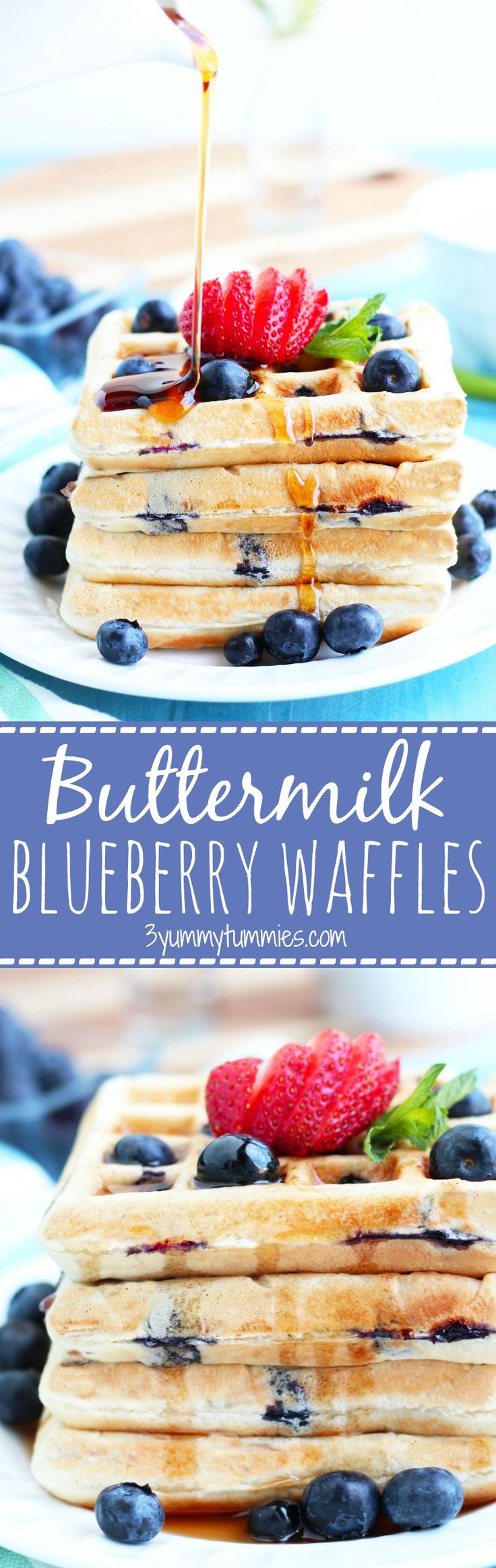These Buttermilk Blueberry Waffles are made from scratch and SO much better than the mix!