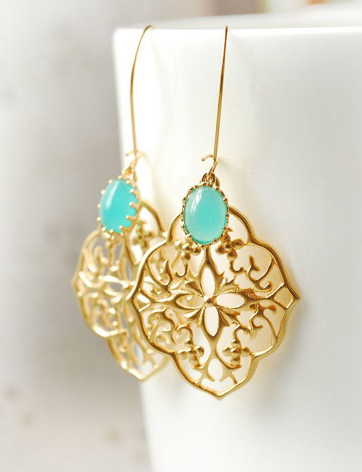 Turquoise Mint Drop Earrings