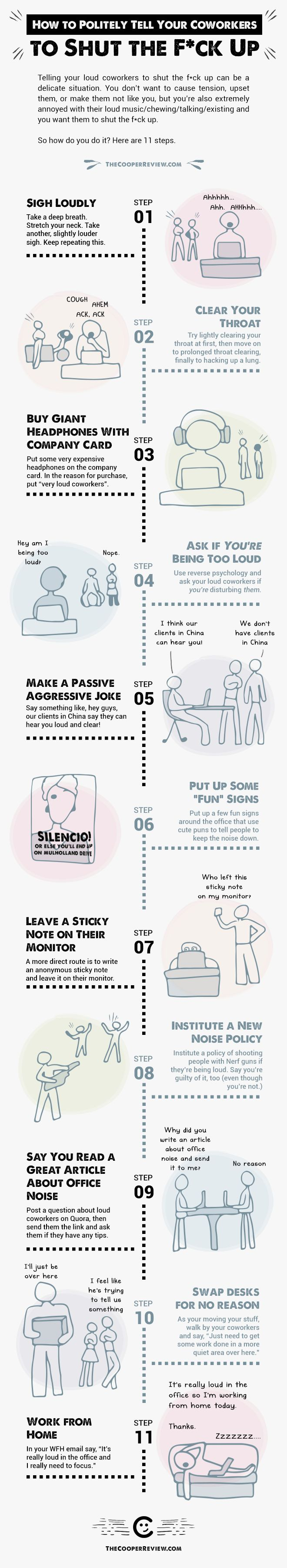 11 Tongue-In-Cheek Ways To Politely Tell Your Coworkers To Shut Up