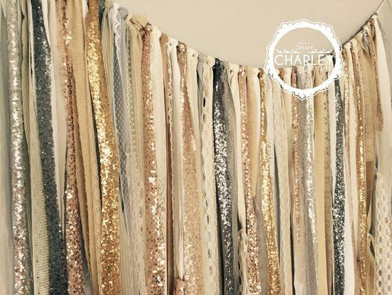 Fabric glitter backdrop garland in shades of gold, pewter, champagne, silver, white, cream, ivory and rose gold