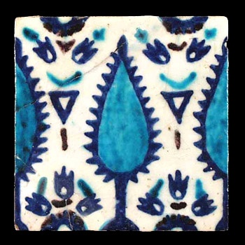 Syria {Damascus}    A square stone paste tile painted in underglaze cobalt blue, turquoise and manganese purple. A central tree motif bisects the tile vertically and is flanked by stylized flowers. A repeat partial tree motif can be seen on each of the vertical edges.   Late 16th century.Via http://anthonyslayter-ralph.com