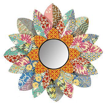 Patchwork Sun Metal Wall Mirror from Earth Homewares