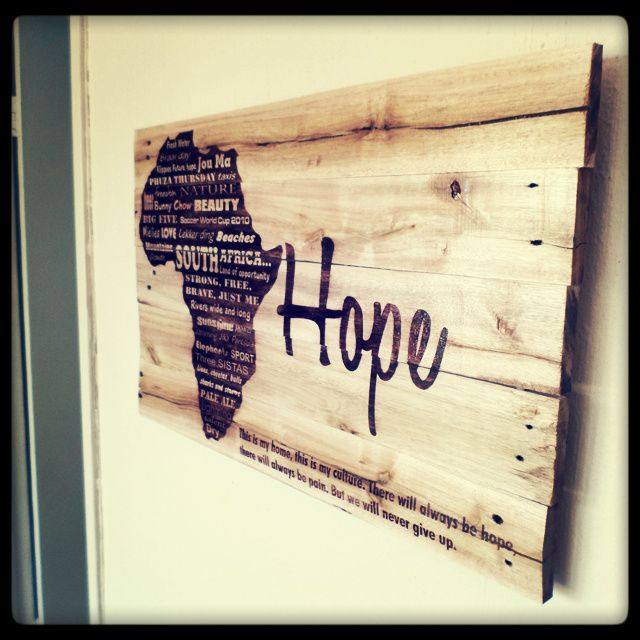 """Hope Pallet Art. 40cm x 60cm recycled pallet wood stained in a dark brown """"Hope image"""" finished off with an outdoor varnish."""
