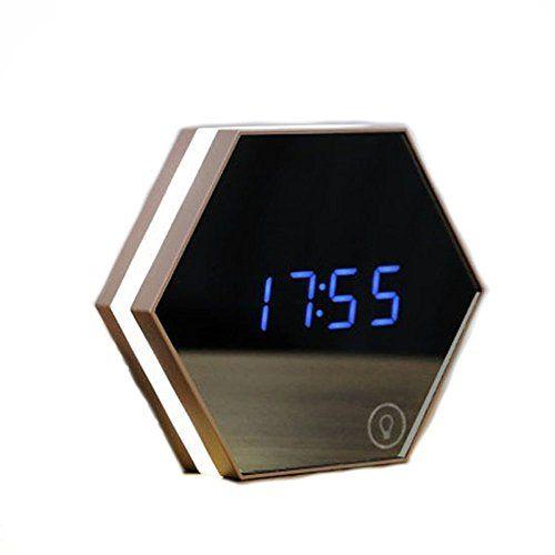 Inspirational Stoga Nouveau Design portable Alarme R veil Miroir Night Light Rechargeable R veil num rique Aliment LED Lampe de