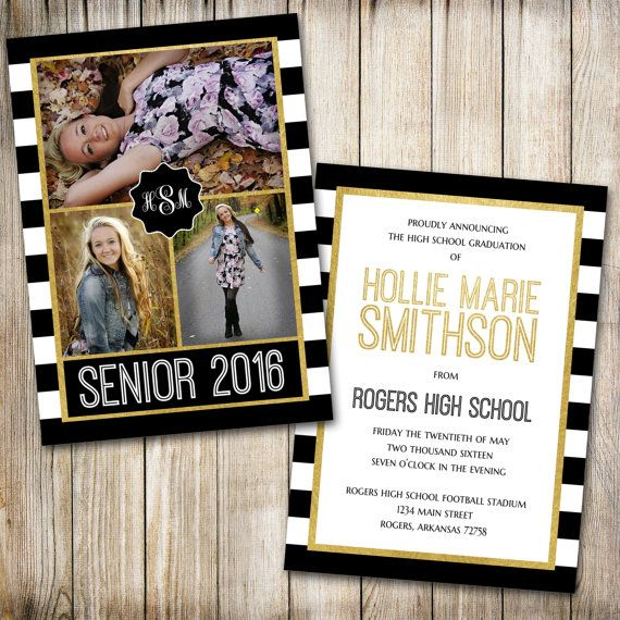 High School Graduation Announcement Senior by ThePaperTrailCo