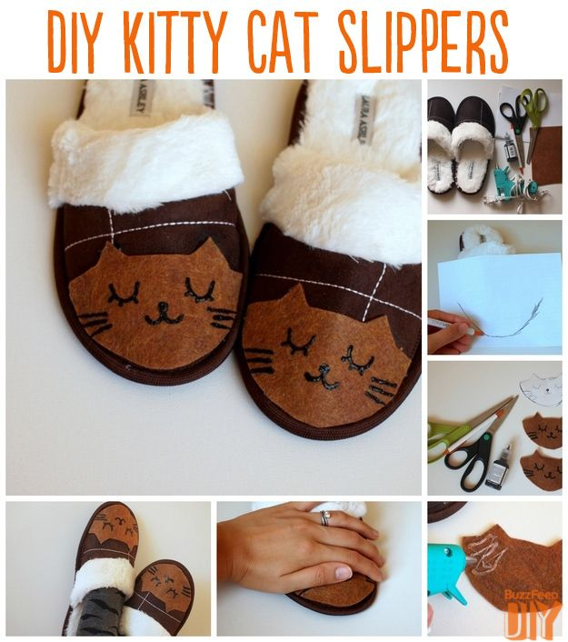 Kitten Slippers   10 Adorable DIY Slippers That Will Give You The Warm Fuzzies
