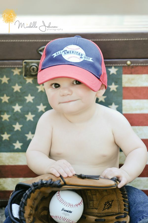 American Flag Themed Baby Photo Session. Baseball, Easton