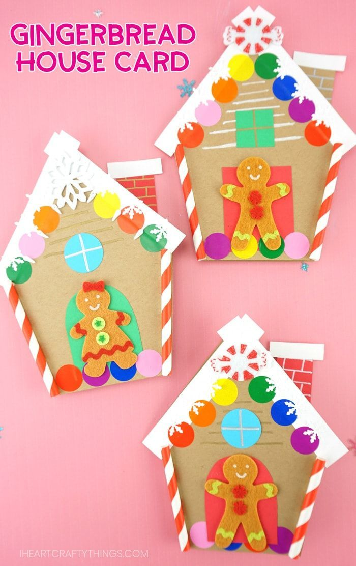 How To Make A Gingerbread House Card For Christmas Christmas Cards Kids Christmas Coloring Cards Gingerbread Cards