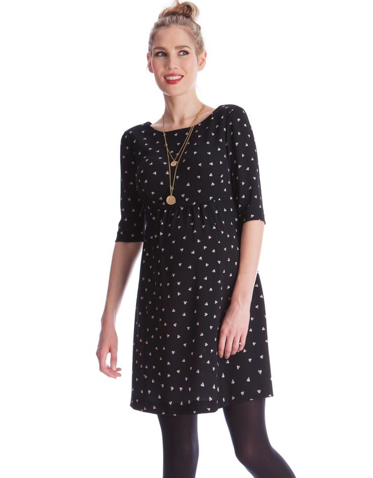 <ul>  <li> Woven crepe fabric </li> <li> Defined empire waist </li> <li> Elegant V back </li> </ul> <p><strong> This maternity dress fits small to size. If you are between sizes, we suggest sizing up.</strong></p> <p> Crafted in the softest woven crepe fabric with a tastefully playful print, this Maternity Dress will make an elegant addition to your wardrobe. Spotted at London Fashion Week on Vogue presenter Jade Parfitt, this dress offers feminine tailoring, a defined empire waist and an…