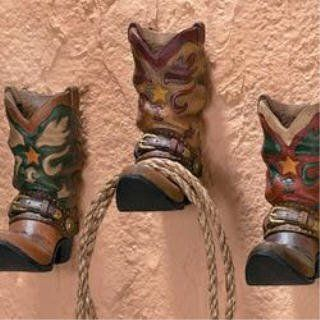 3 Cowboy Western Boots Hook Rack Home Wall Decor $17.99
