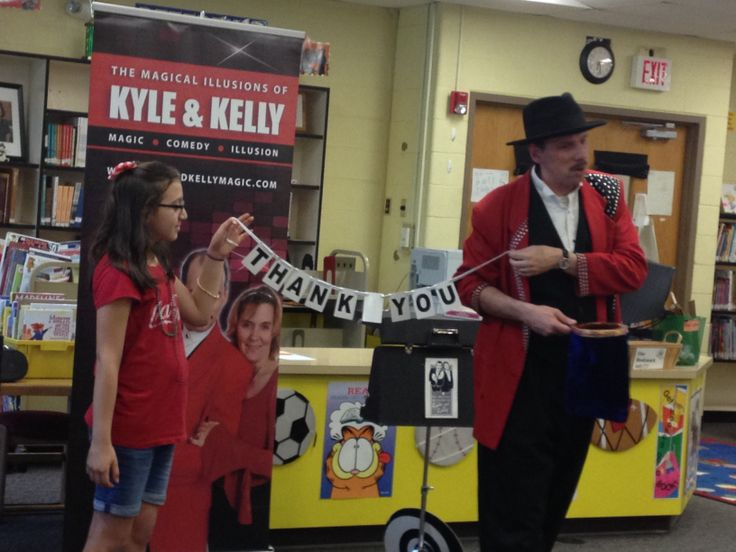 "Saying ""Thank You"" to our hosts...Bel Air Elementary School. #magicians #Maryland www.kyleandkellymagic.com"