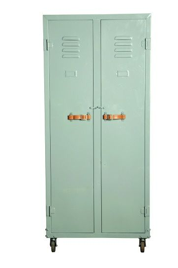 mint lockers with leather straps-- but in an emerald green with gold handles