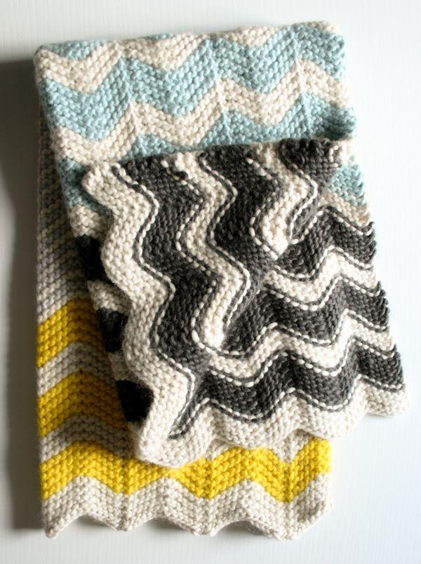 Free knit Chevron blanket pattern