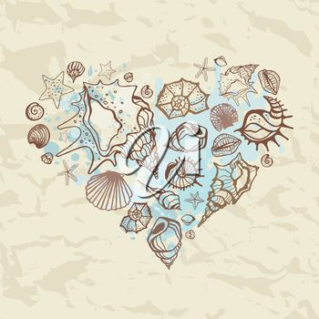 iCLIPART - Heart of shells. Hand drawn vector illustration