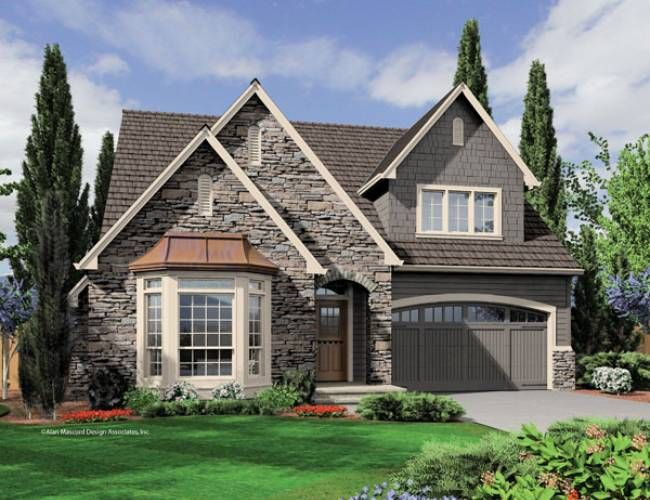 Garage door. arched with windows.  Mascord House Plan 22159 - The Fairfield