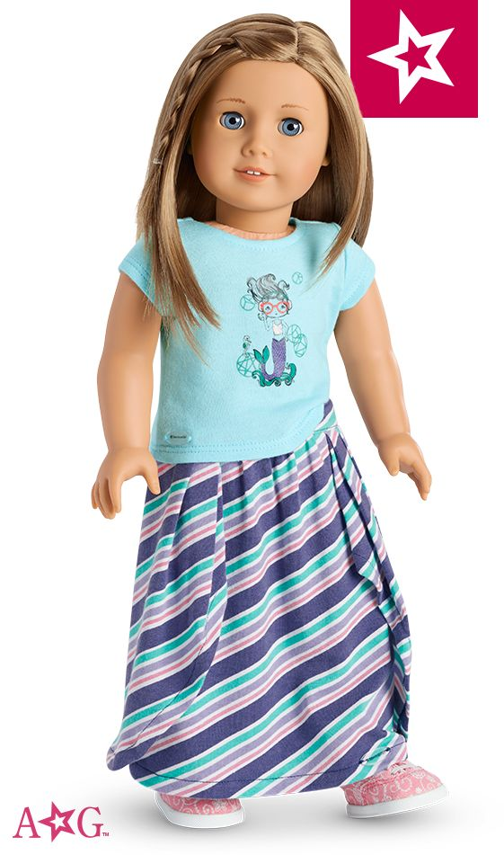 Combine three sweet separates into one cute look! This set features the Mermaid Tee, Seashore Stripe Shirt, and Lace-Print Shoes, all for 18-inch dolls.