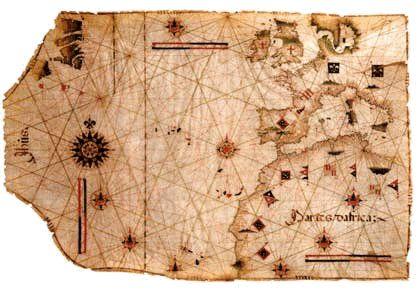 Carta náutica do século XIV.