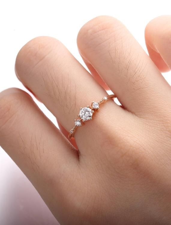 Moissanite engagement ring rose gold Vintage Diamond wedding ring set Dainty antique Brilliant Bridal Jewelry Half eternity Promise gift – Paityn Sanders