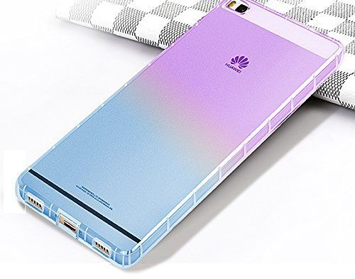 Amazon.com: Vandot Exclusive Airbag 0.7mm Ultra Slim Shockproof Transparent High Grade Soft TPU Case for Huawei P8 Lite 5 inches Gel Soft Clear Crystal Silicone Skin Protective Case - Gradient Purple Sky Blue: Cell Phones & Accessories