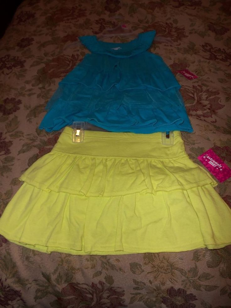 NWT Extremely Me Aqua Ruffled Tank Top & Lime Green Skort Outfit, Size 5/6 #ExtremelyMe #DressyEveryday