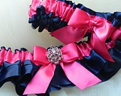 Wedding garter set navy blue and hot pink satin with jewel