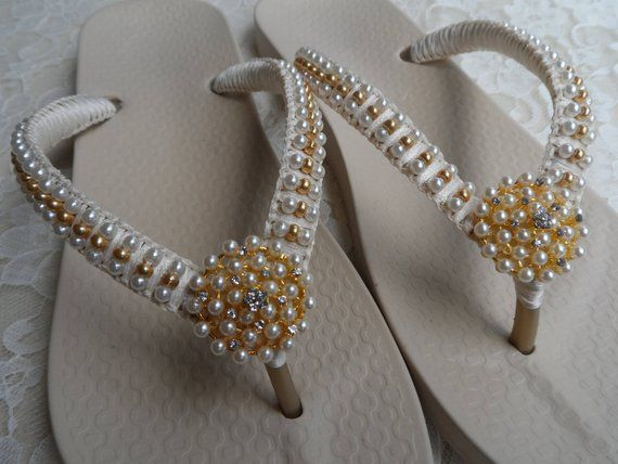 04ee9d07ab5f Bridal Ivory Pearls Flip Flops   Wedding Sandals Gold Pearls