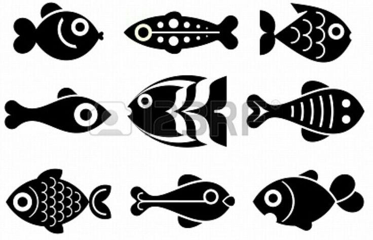 Fishies Silhouet Template/ Stencil. Great Mural (Chalk Paint) :-) From Jazzia at 123RF.com