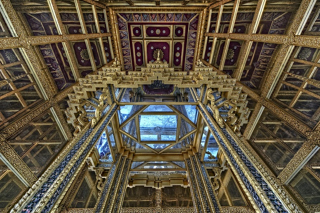 Mirrored ceiling of the Sala of Ten Reincarnations on the grounds of Muang Boran (The Ancient City) in Samut Prakan, Thailand.