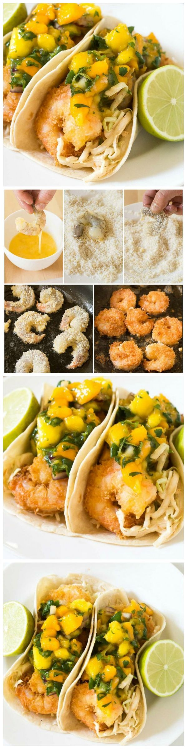 Tropical coconut shrimp tacos served with a chili lime coleslaw & mango papaya salsa. Seriously the best taco I've ever had!