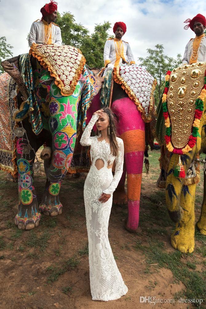 2018 Lior Charchy India Wedding Dresses abiti da sposa Jewel Neck Long Sleeve Mermaid Bridal Gown Plus Size Beach Wedding Dress