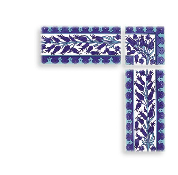 The Ottoman Tile Collection :: The Ottoman Collection | T6a 10x20cm border - Turkish Ceramics from Iznik Revivals