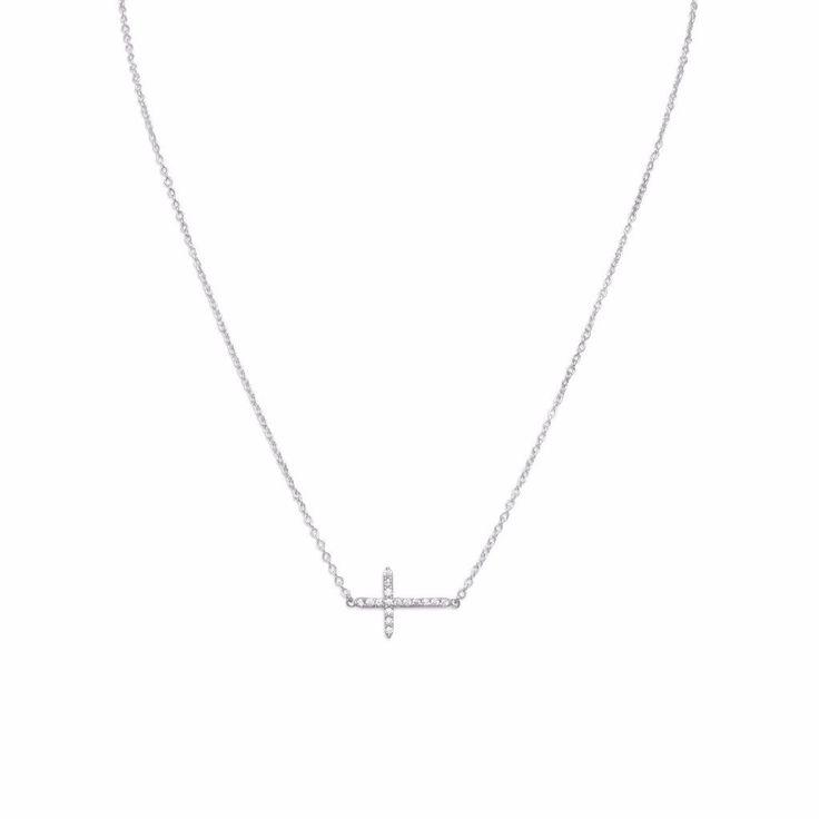 "16"" + 2"" Rhodium Plated CZ Sideways Cross Necklace"