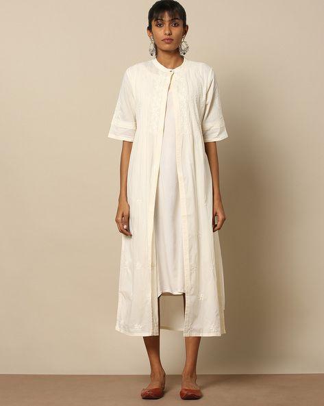 3770ad6c43166 Buy SWADESH Women White Hand Embroidered Chikankari Cotton Kurta | AJIO.  Find this Pin and ...