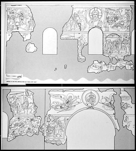 Chiesa di Santa Maria foris portas, Castelseprio, Lombardia. Una pianta degli affreschi. IX-X secolo. Alcuni studiosi (anche Lasarev) li attribuiscono al VII – VIII secolo, collegandoli agli affreschi di Santa Maria Antiqua a Roma