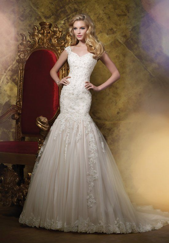 Style J11588 by James Clifford Collection. A satin A-line gown with a sweetheart neckline. l TheKnot.com