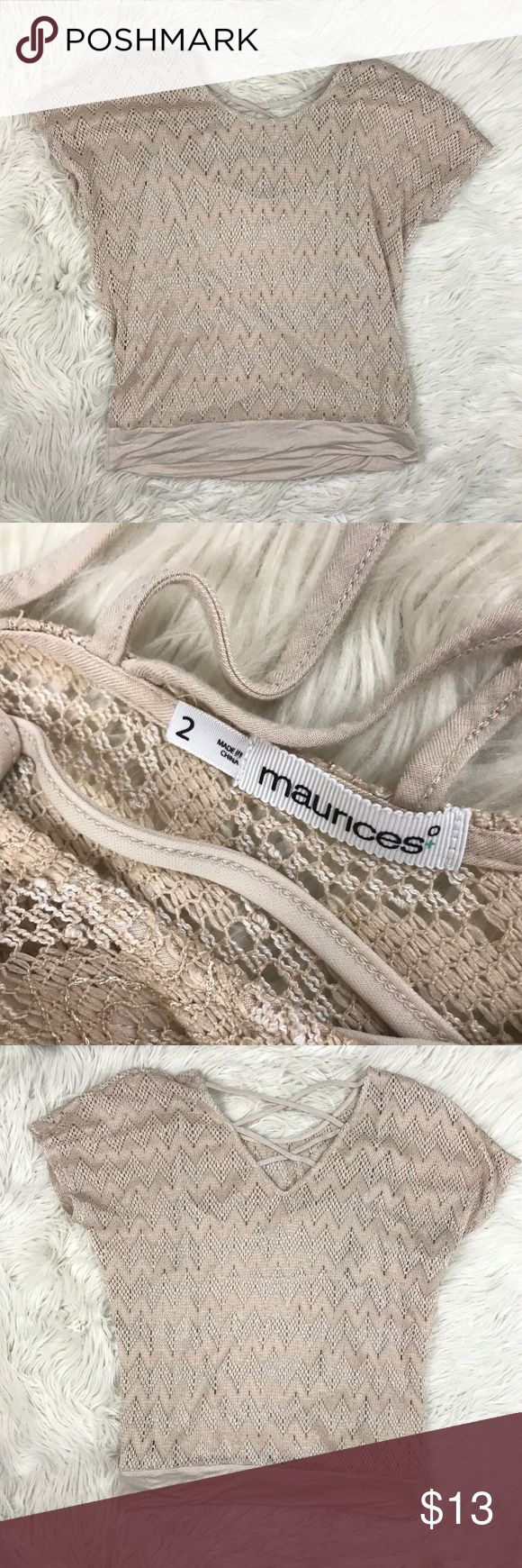 Maurices Sz 2 (20-22) Tan Crochet Strappy Back Top Maurices Women's Plus Size 2 (20-22) Tan Lace Crochet Top Shirt Strappy Back   Materials: 72% Polyester, 28% Rayon   Measurements (approximate) in inches. Items are measured laying flat & not stretched.  Length: 26 Underarm to underarm: 21 Maurices Tops Blouses